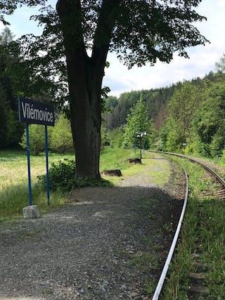 Halte: Tijdens de wandeling langs de Sázavarivier loop je soms langs het spoor.